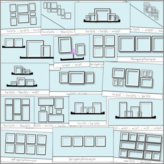 Схемы размещения фотографий в интерьере